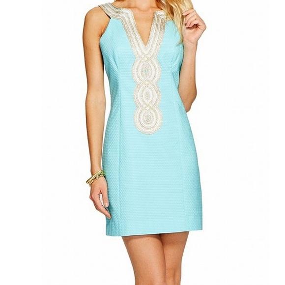 {Lilly Pulitzer} Valli Sheath Dress Serene Blue 10